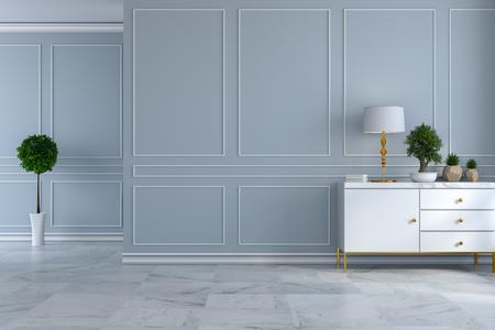 豪華なモダンな部屋のインテリア、空の部屋、ライトグレーの壁と大理石の床にランプと植物と白いサイドボード3Dレンダー