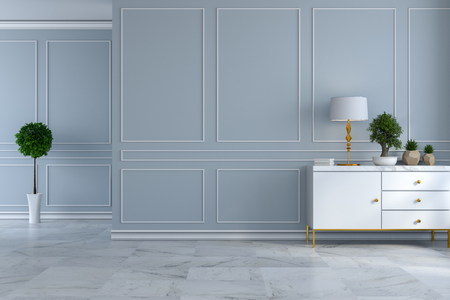 luxury modern room interior,empty room ,white sideboard with  lamp and plant on light gray wall and marble floor 3d render Banco de Imagens