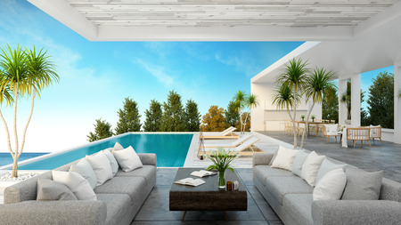 Una casa sulla spiaggia moderna, piscina privata, vista panoramica del mare e del cielo, rappresentazione 3d Archivio Fotografico - 94199846
