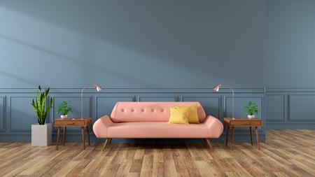 モダンなリビングルーム、木製フローリングのピンクのソファ、ダークグレーの壁、3Dレンダリング