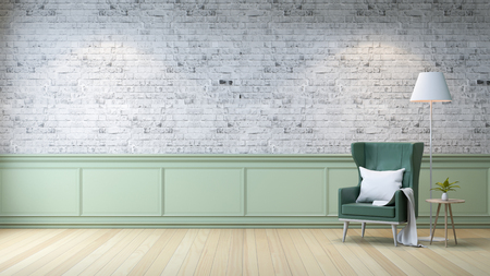 モダンなロフトインテリア、リビングルーム、白い木製フローリング、明るい灰色のレンガの壁の背景にテーブルと白いランプ付きの緑のアームチ 写真素材