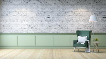 Interior moderno de loft, sala de estar, pisos de madera blanca, sillón verde con mesa y lámpara blanca sobre fondo de pared de ladrillos gris brillante, render 3d Foto de archivo - 94356812