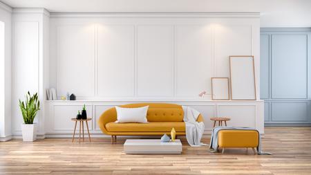 モダンミッドセンチュリールームインテリア、白い部屋に黄色のソファ、3Dレンダリング
