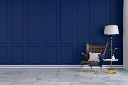 豪華なモダンな客室のインテリア、青い壁に白いランプが付いている青いラウンジチェア3Dレンダー 写真素材