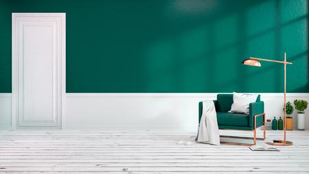 白い床と暗い緑の壁に緑のアームチェアを備えたリビングルームのモダンなロフトインテリア.空の部屋、3Dレンダリング
