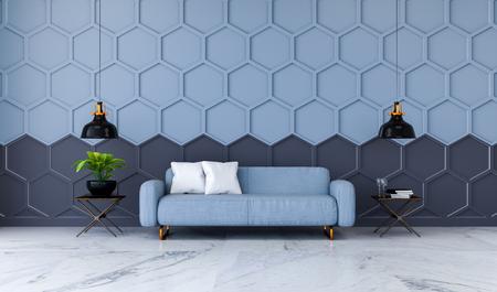 モダンな客室インテリア、大理石の床に青いファブリックソファ、黒のヘキサゴンメッシュウォール3Dレンダー付きブルー