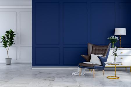 Interior moderno luxuoso da sala, cadeira de sala de estar azul com lâmpada branca e aparador branco na parede azul. 3d render Foto de archivo - 94198670