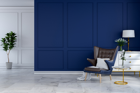luxury modern room interior,blue lounge chair with white lamp and white sideboard on blue wall. 3d render