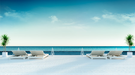 Summer , sun longers on Sunbathing deck and private swimming pool with  panoramic sea view at luxury villa3d rendering