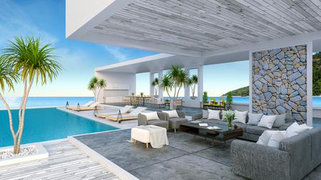 Een modern strandhuis, privézwembad, panoramische lucht en zeezicht, 3D-rendering Stockfoto