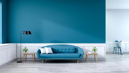 Interior minimalista de la sala de estar, sofá azul con mesa de madera y lámpara negra sobre pisos de madera y pared azul cielo, renderizado 3d Foto de archivo - 94356840