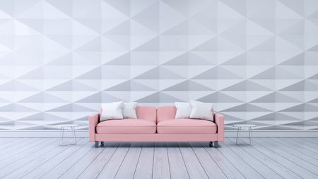 モダンな部屋、白いポリゴンウォールとピンクのソファ、インテリアデザイン、3Dレンダー 写真素材
