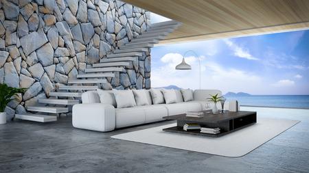 Interior de la habitación moderna cerca de la playa con vistas al cielo y al mar / 3D Render Foto de archivo - 94356866