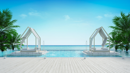 beach lounge and panoramic sea view at luxury villa 3d rendering