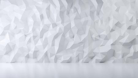 Textura blanca, sala de decoración de polyganal, diseño de interiores, render 3d Foto de archivo - 94356867