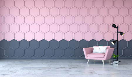 Modern room interior, pink armchair on marble flooring and pink with black  Hexagon Mesh wall  3d render
