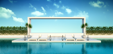 Beach living , sun loungers, Pool terrace at luxury villa. 3d rendering