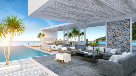モダンビーチハウス、専用スイミングプール、パノラマの空と海の景色、3Dレンダリング