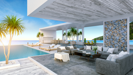 Un Beach House moderne, piscine privée, vue panoramique sur le ciel et la mer, rendu 3d