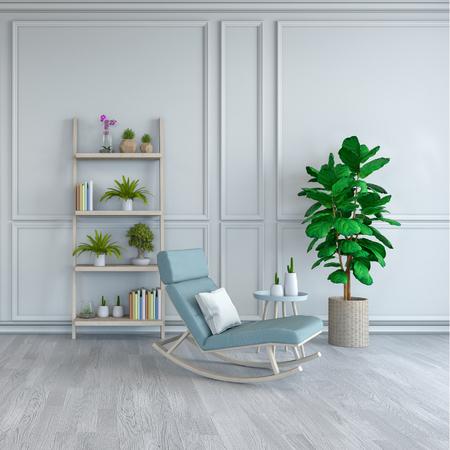 ミニマリストルームのインテリアデザイン、白い床と白いフレームの壁3Dレンダーに植物と水色のラウンジチェア