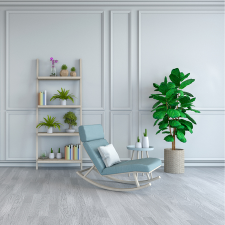 Minimalist room interior design, light blue  lounge chair with plant   on white floor and white frame wall  3d render