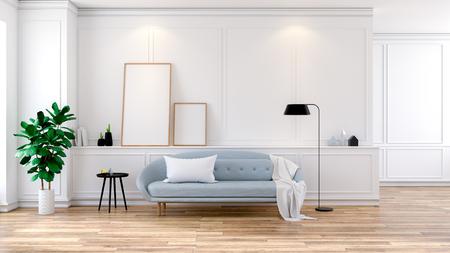 Modern mid Century room interior , Light blue sofa on white room,3d rendering