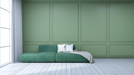 ミニマリストのインテリアデザイン、緑のフレームウォールと白い床に緑のソファ、3Dレンダー