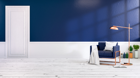 Interior moderno do sótão da sala de visitas com as poltronas azuis no revestimento branco e na parede azul escuro. Sala vazia, rendição 3d Foto de archivo - 94202343