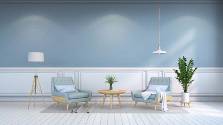 ミナマリストのインテリアルーム、コンテンポラリーフルニター、ライトブルーのアームチェア、木製テーブル、ホワイトフローリング、ライトブ 写真素材