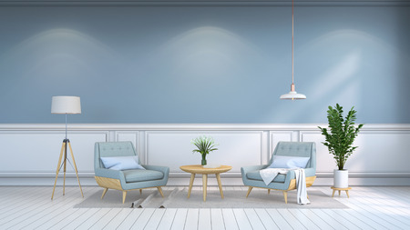 minamalist  interior room , Contemporary furnitur, light blue armchairs and wood table on white flooring and light  blue wall 3d render