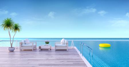 休暇時間、日光浴デッキのウッドソファ、豪華なヴィラ3Dレンダリングで海のパノラマの景色を望む専用スイミングプール 写真素材