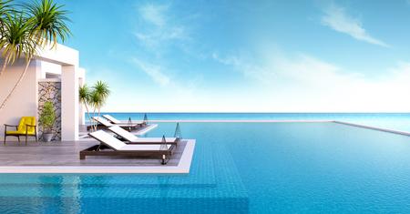 해변 라운지, 일광욕 데크에 마련된 일광욕 용 의자 및 고급 빌라  3d 렌더링의 탁 트인 바다 전망이있는 전용 수영장 스톡 콘텐츠