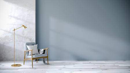 リビングルームのロフトとヴィンテージインテリア、白い床と青い壁の青いアームチェア、3Dレンダリング 写真素材