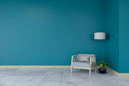 ミニマリストルームインテリア、大理石の床にグレーのアームチェア、ダークグリーンの壁3Dレンダー 写真素材