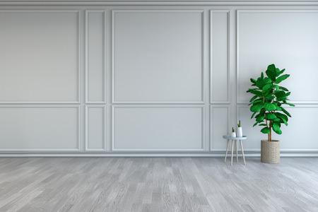 ミニマリストルームのインテリアデザイン、白い部屋のテーブルの上にサボテンと緑の植物、空の部屋3dレンダー 写真素材