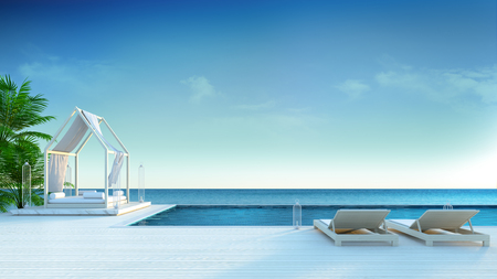 beach lounge , sun longers on Sunbathing deck and private swimming pool with  panoramic sea view at luxury villa3d rendering