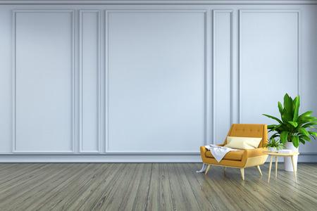ミニマリストルームのインテリアデザイン、木製フローリングと白いフレームウォールに黄色のアームチェアと白いランプ3Dレンダー