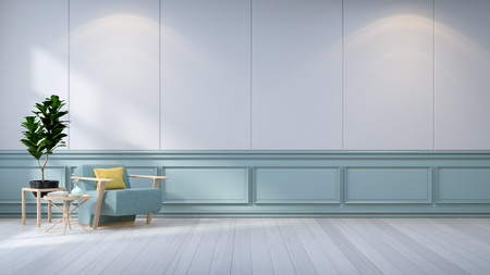 Minimalist room interior,blue armchair  and  plant on  white wall  3d render
