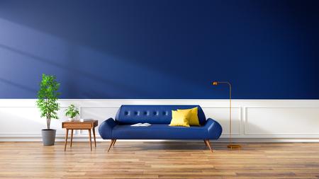 モダンなリビングルーム、ウッドフロアの青いソファ、ダークブルーの壁。,3D レンダリング