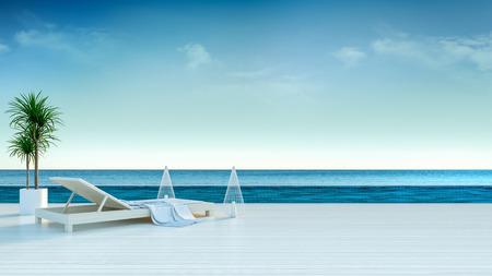 夏、日光浴デッキと豪華なヴィラ3Dレンダリングで海のパノラマビューを持つ専用スイミングプールで長い太陽