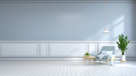 minamalist  interior room , Contemporary furnitur, light blue armchair on white flooring and light  blue wall /3d render