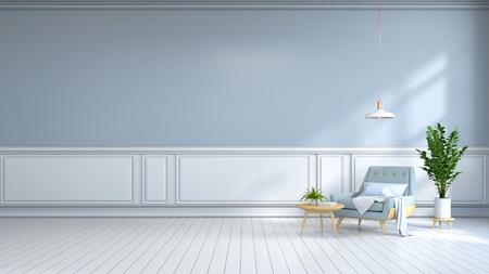 minamalistischer Innenraum, zeitgenössische Möbel, hellblauer Lehnsessel auf weißem Bodenbelag und hellblaues wall / 3d übertragen