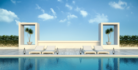 Beach living , sun loungers  Pool terrace  at luxury villa  3d rendering