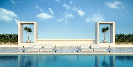 Strandleven, ligstoelen  zwembadterras bij luxevilla  3D-rendering