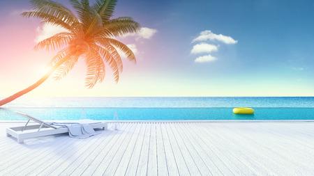 リラックスできる夏、ビーチラウンジ、日光浴デッキ、ビーチ近くの専用スイミングプール、豪華なvila 3dレンダリングでのパノラマの海の景色と空