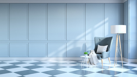 Retro modern interior  living room ,Gray lounge chair with white lamp on Light Gray  wall .3d render Banco de Imagens