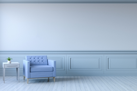 Minimalist  interior design,light blue armchair with white lamp on blue frame wall and white wood flooring , 3d render
