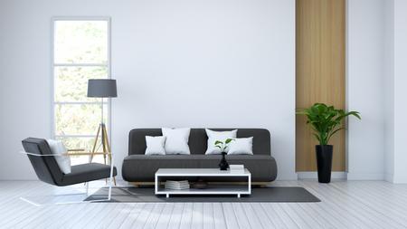 O interior do quarto branco, o sofá preto no assoalho branco e a parede branca 3d rendem Foto de archivo - 94432796