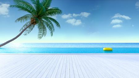 편안한 여름, 일광욕 데크 및 개인 수영장, 해변과 탁 트인 바다 전망, 럭셔리 빌라  3d 렌더링의 하늘 스톡 콘텐츠