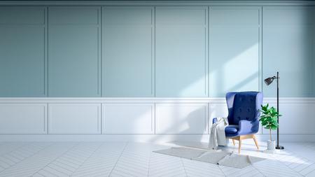 ヴィンテージルームインテリア、ライトブルーの壁と白い床の青いラウンジチェア.3Dレンダー 写真素材